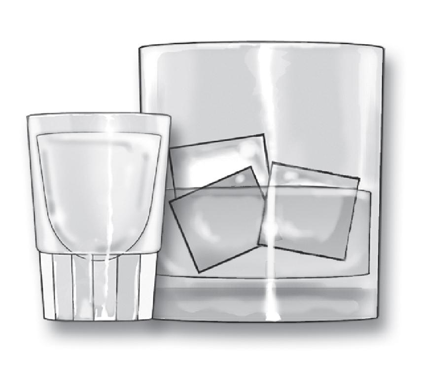 1.5 fl oz shot of 80-proof spirits ('hard liquor' - whiskey, gin, rum, , vodka, tequila, etc.) - about 40% alcohol