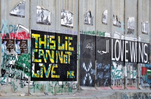 The West Bank Separation wall, covered with graffiti