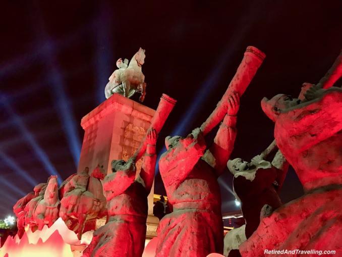 Xian S. Yanta Street Night Light Show Warriors - Great Things To Discover In Xian China.jpg