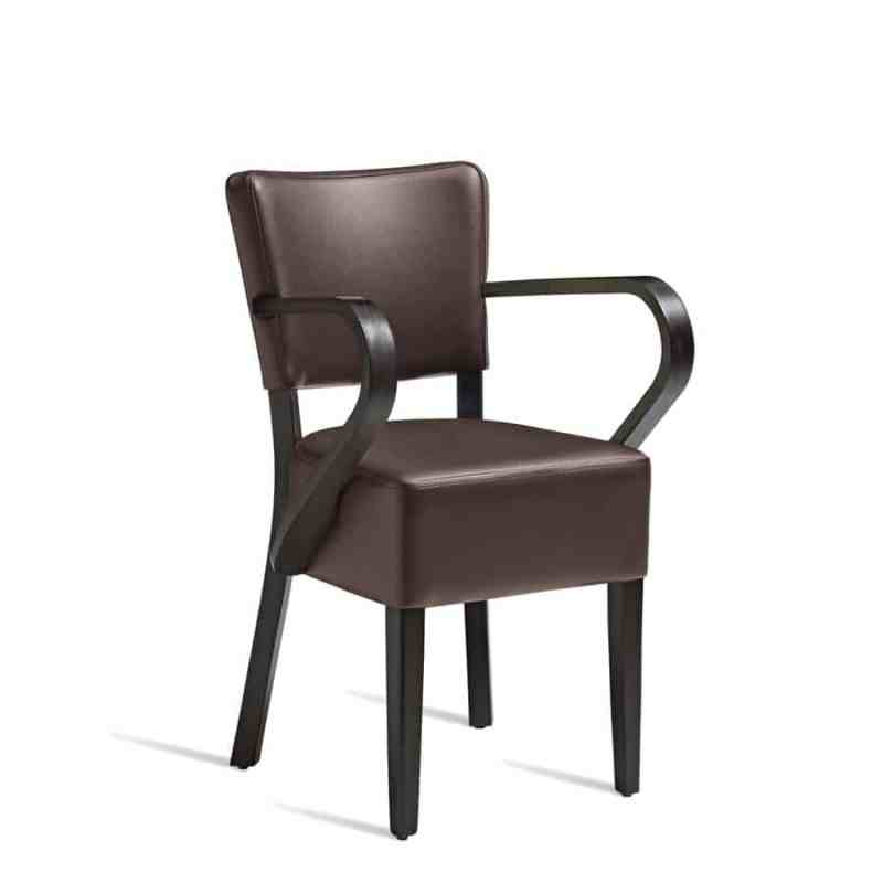 Club arm chair upholstered in faux leather