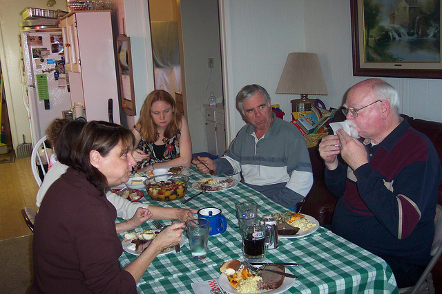 Family at dinner table