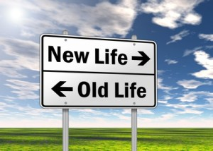 "Traffic Sign ""New Life vs. Old Life"""