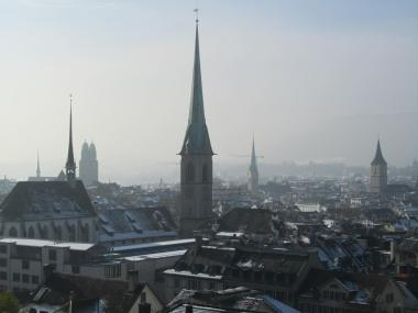 View from Polyterrasse on misty Zürich