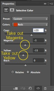 Selective Color adjustment layer for Reds