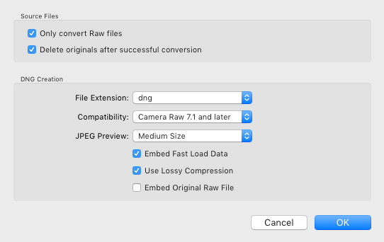 recommended settings for lossy dng compression