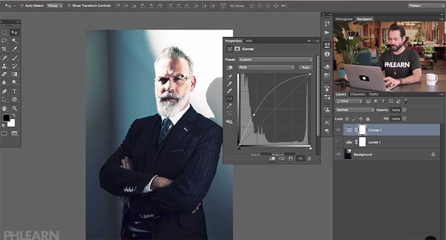 Lifting shadows in Photoshop can result in overblown highlights using the Curves tool.