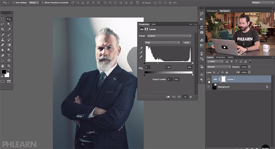 Lifting shadows in Photoshop can result in overblown highlights using the Levels tool.