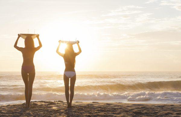 Bikini Women Surfers & Surfboards Sunset Beach