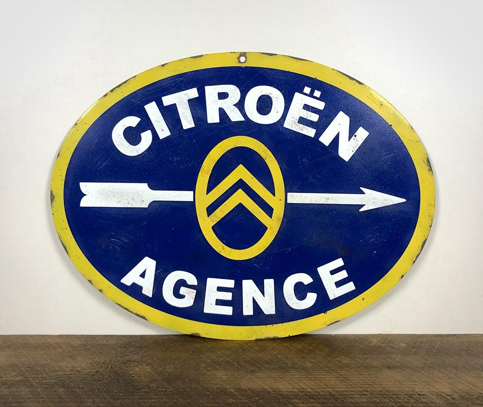 Plaque en tôle peinte Citroën Agence