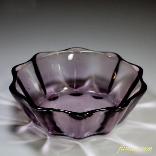 昭和レトロ紫ガラスボウルR4453