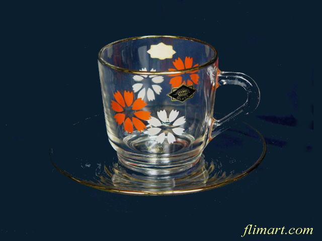 昭和レトロアデリアグラスカップ&ソーサー