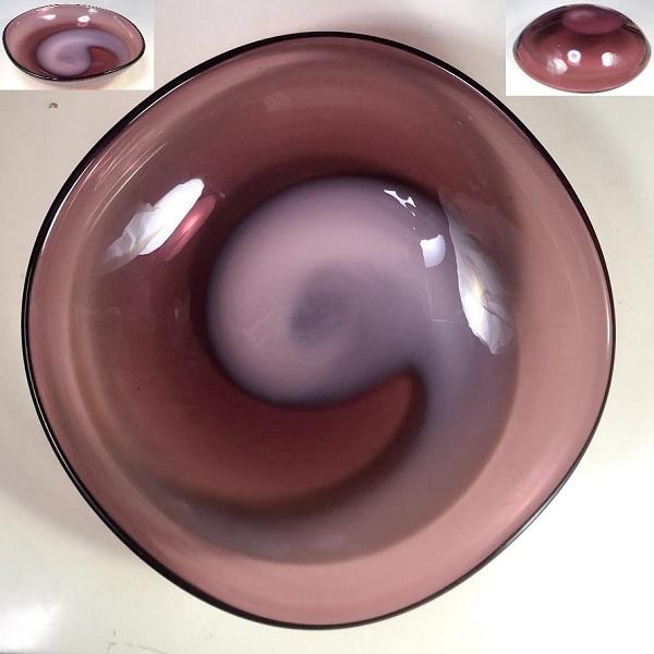 紫ガラスボウルR7424