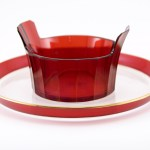 Well-preserved antique Art Deco ruby flashed glass service tray and matching bowl.