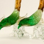 Vintage Italian art glass pheasant pair.