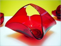 Lovely hand formed ruby red basket.