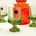 Vintage medieval style thick glass goblets in green citron.