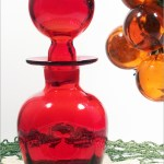 Rainbow Art Glass #306 Ruby Red Pinched Decanter.