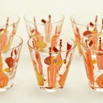 Set of SIX mid-century (1950's-60's) double-shot sized whiskey glasses with decor in the style of decanters popular in the era.