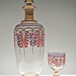Well preserved antique Bohemian glass hand-blown decanter and goblet with enamel decor . Very rare. Very old.