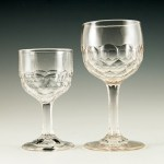 Interesting pair of 19th Century EAPG glass Honeycomb goblets. The pattern was popular in eateries and taverns during the 1850's - 1880's.