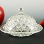 Antique flint glass covered dish made during the Early American pressed glass period (EAPG 1825 - 1910).