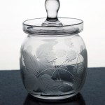 Hard to find antique Cambridge Glass blackberry etched lidded jelly jar Cambridge Glass, USA,  made this elegant jar in the 1920's-1930's.
