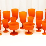 Set of 19 retro mod goblets by Carlo Moretti, Italy. Circa 1959 to mid 1960's. Hand blown with applied stems. Featuring the velvety soft Satinato finish Carlo Moretti is famous for. The glass is top quality leaded crystal.