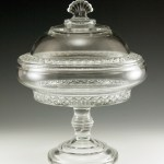Big EAPG glass (early American pressed glass) covered comport by Bryce Higbee, circa 1885.