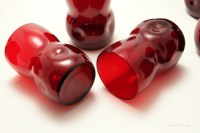 The beautiful ruby red glass was hand blown, pinched by hand-tool, sheared at rim, rim is polished.