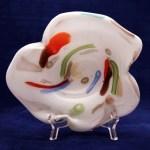 Murano Art Glass Cased Lattimo and Cane Disha M