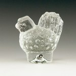 Crystal table charm by Pukeberg Glasbruk, Sweden. Cute, fat, mid-century modern hen made of solid Swedish crystal.