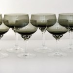 Quality crystal cocktail stemware by Sasaki, Japan. Pattern is called 'Coronation'. Set of 8 smoke black bowls with applied crystal twisted stem.