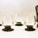 Set of 5 Lily Pad Art Deco shot glasses from the 1930's. All in excellent condition.