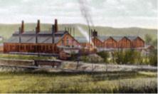 Early Cambridge Glassworks factory in Cambridge, Ohio, USA.