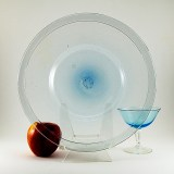 """Big Blenko Art Glass plates hand-made exactly as they were made in 17th Century Williamsburg, Virginia, U.S.A. They measure approximately 11 3/4"""" round."""