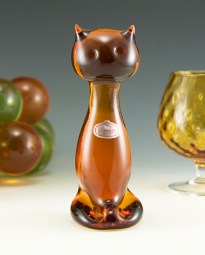 Hand formed stylized sitting cat by Rainbow Art Glass, circa 1960's.