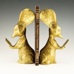 Big barn mouse bookends of reading mice with huge ears in solid brass.
