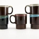 Vintage Japanese Redware drip glaze mug set of 5.