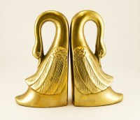 Large swan bookend set in beautiful vintage condition with uniform aged golden patina.
