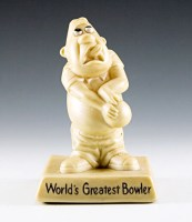 This bowler gag trophy was made by W & R Berries and Co. in the U.S.A in the 1970's when 'big eye' cartoon art was in vogue.