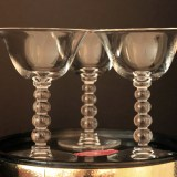 This lovely set of Candlewick wine stems at a touch of elegance to a table set for two.