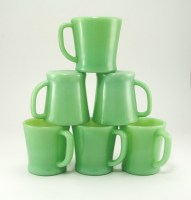 Set of six Fire King Jadeite mugs. Hard to find as a set. Fantastic, sturdy, useful coffee mugs made in America back in the days when we made great things!
