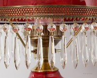 Fenton's Victorian style hanging lamp was outfitted with real crystal prisms. There are a total of 40 real crystal prisms.
