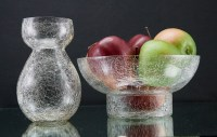 Blown glass Hyacinth vase and bowl matching set in hand-blown fine crackle glass. The Hyacinth, or bulb vase is in the teardrop shape with a tall bowl.