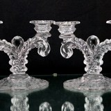 Beautiful Cambridge Rose Point etched Martha candle holders, circa 1930's - 1940's