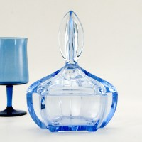 European Art Deco glass vanity jar in beautiful light Azure blue.