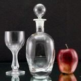 Vintage Nason & Moretti hand-blown crystal decanter plus hollow stem goblet.