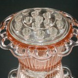 Pink Depression glass ribbed flower bowl with original crystal frog made by Hocking Glass Co, circa 1935 to 1938. Hard to find.