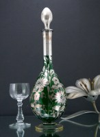 Hauntingly beautiful Victorian Art Nouveau decanter with original stopper. Expertly done hand-painted floral decor with real silver.