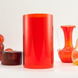 Tangerine retro glass candle chimney made in the 1960's - 1970's.